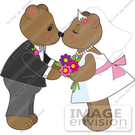 33548 Clip Art Graphic of a Loving Teddy Bear Couple Kissing At Their