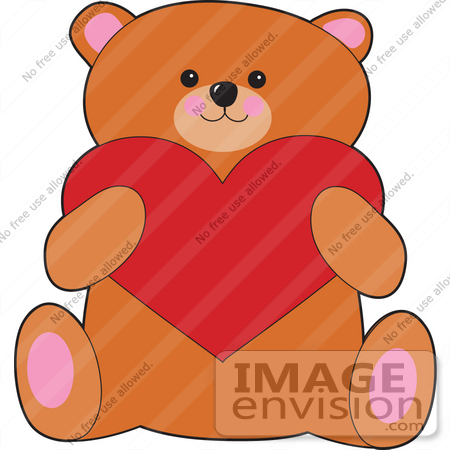 #33551 Clip Art Graphic Of A Valentines Day Teddy Bear Holding A Big Red  Heart