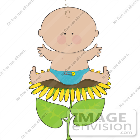 #33552 Clip Art Graphic of a Happy Spring Baby Boy Sitting On A Sunflower by Maria Bell