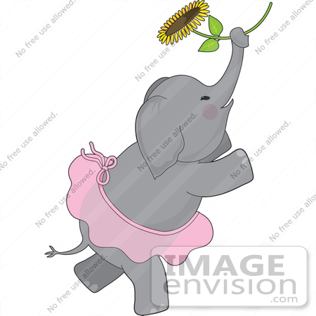 #33554 Clip Art Graphic of a Ballerina Elephant In A Pink Tutu, Dancing With A Sunflower by Maria Bell