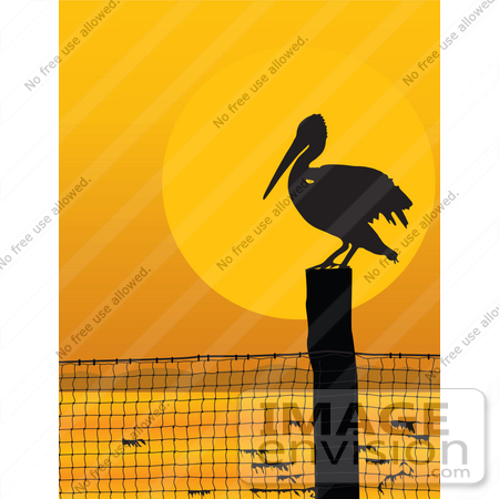 #33555 Clip Art Graphic of a Silhouetted Pelican Bird Perched On A Post At Sunset by Maria Bell