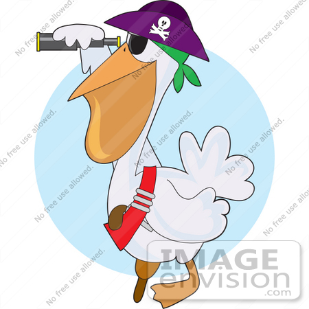 #33559 Clip Art Graphic of a Pirate Pelican Bird In A Hat, Peering Through A Telescope by Maria Bell