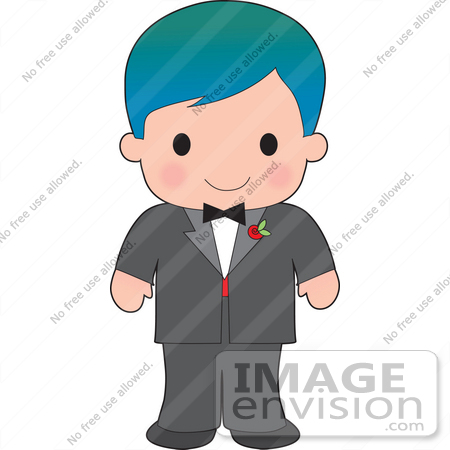 #33566 Clip Art Graphic of a Poppy Character Boy In A Tux With A Red Rose by Maria Bell