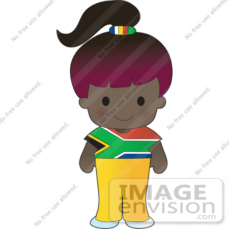 #33571 Clip Art Graphic of a Poppy Character Of South Africa, Wearing A Cultural Flag Outfit by Maria Bell