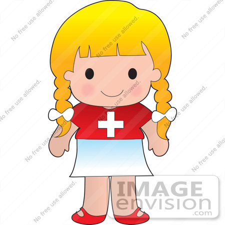 #33573 Clip Art Graphic of a Blond Haired Poppy Character Of Switzerland Wearing A Cultural Flag Outfit by Maria Bell