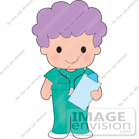 #33574 Clip Art Graphic of a Purple Haired Poppy Character In Nursing Scrubs by Maria Bell