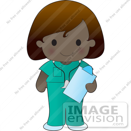 #33576 Clip Art Graphic of a Poppy Character Nurse In Green Scrubs, Carrying A Clipboard by Maria Bell