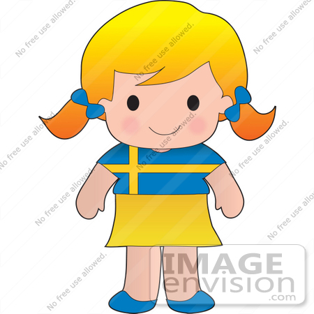 #33577 Clip Art Graphic of a Blond Haired Poppy Character Of Sweden, Wearing A Cultural Flag Outfit by Maria Bell