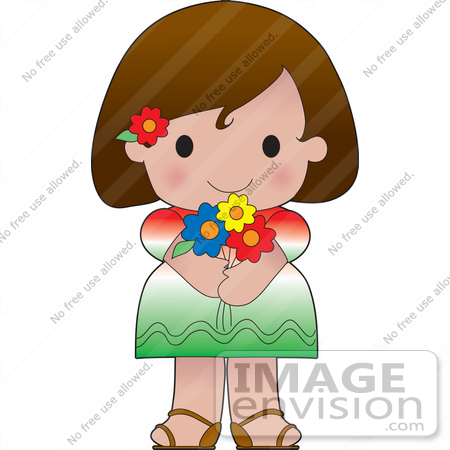 #33583 Clip Art Graphic of a Brunette Haired Poppy Character Of Mexico, Wearing A Cultural Flag Outfit by Maria Bell