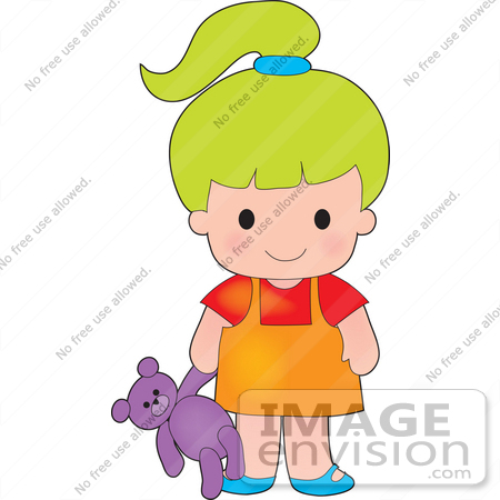 #33585 Clip Art Graphic of a Lime Green Haired Poppy Character Girl Carrying A Purple Teddy Bear by Maria Bell