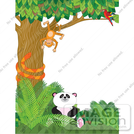 Hanging upside down in a tree a snake and a panda in a forest 33592