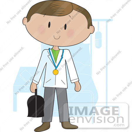 Clip Art Graphic of a Doctor Guy Carrying A Medical Bag And ...