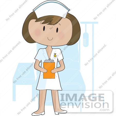 clip art graphic of a pretty bru te nurse lady in a