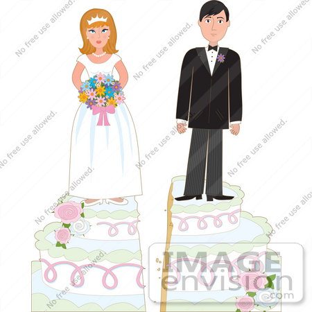 33606 Clip Art Graphic of a Young Couple Standing On Top Of Their Wedding
