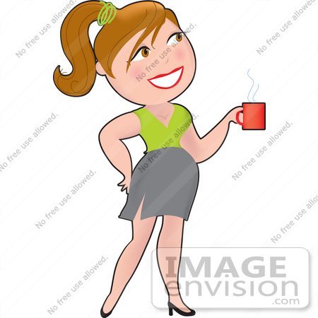 #33626 Clip Art Graphic of a Dainty Character Lady Businesswoman Carrying Coffee In The Office by Maria Bell