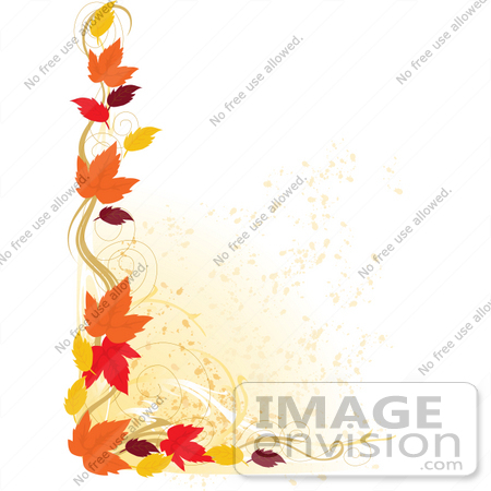 #33643 Clip Art Graphic of a Stationery Border Of Autumn Colored Leaves And Scrolls by Maria Bell