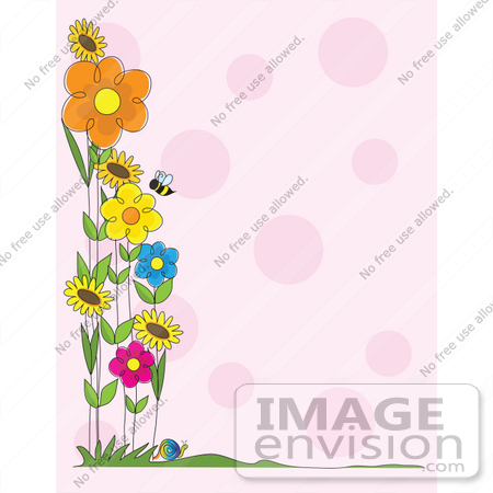 Clip Art Graphic of a Stationery Border Of Bees And Spring Flowers ...
