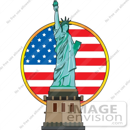 #33646 Clip Art Graphic of a Circular American Flag Behind The Statue Of Liberty by Maria Bell