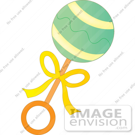 clip art graphic of a green baby rattle with a yellow bow 33656 rh imageenvision com rattle clipart black and white pink rattle clipart