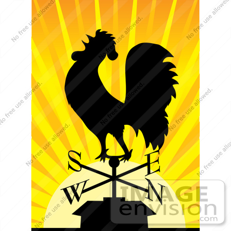 #33657 Clip Art Graphic of a Silhouetted Rooster Weathervane At Sunrise by