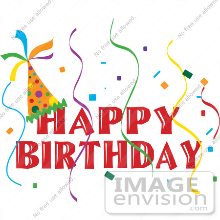 Clip Art Graphic of a Happy Birthday Party Banner With A Hat ...
