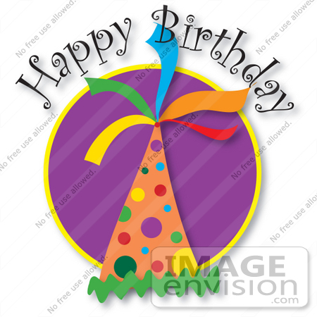 #33660 Clip Art Graphic of a Happy Birthday Party Hat With Colorful Spots by