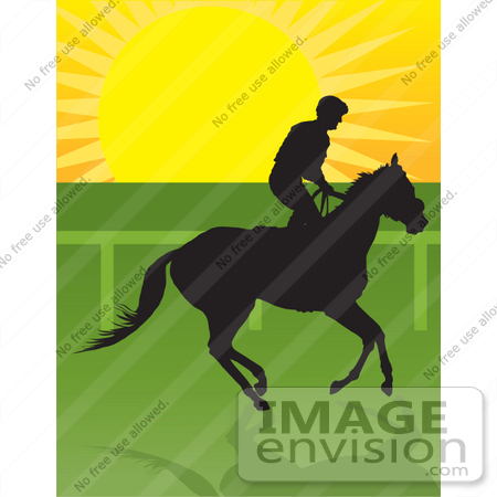 #33661 Clip Art Graphic of a Silhouetted Jockey Riding On Horseback At Sunrise by Maria Bell
