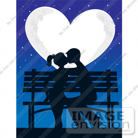 #33664 Clip Art Graphic of a Bright, Heart Shaped Moon Casting Light On A Silhouetted Teen Couple Kissing On A Park Bench by Maria Bell