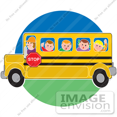 #33666 Clip Art Graphic of a Bus Driver Taking School Kids To School by Maria Bell