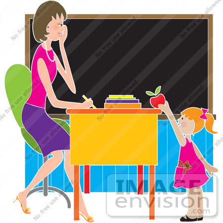 #33668 Clip Art Graphic of a Female Teacher Getting A Red Apple From A