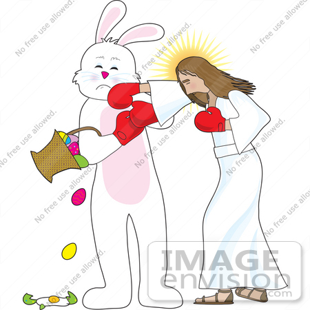 #33673 Clip Art Graphic of the Easter Bunny Getting Punched by Jesus by Maria Bell