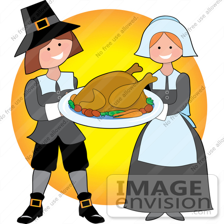 clip art graphic of a generous pilgrim couple serving cooked rh imageenvision com pilgrim clipart black and white pilgrim clipart free