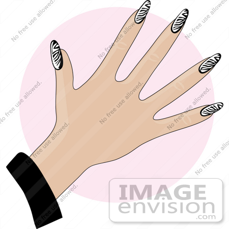 #33904 Clip Art Graphic of a Lady Showing Off Her Manicured Fingernails With