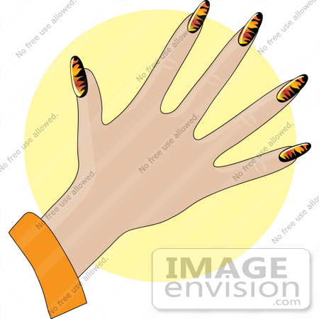 33948 Clip Art Graphic Of A Ladys Hand With Flame Patterned Gel Acrylic Nails By