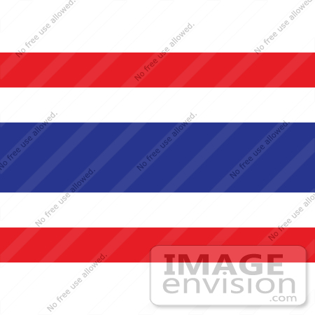 #34069 Clip Art Graphic of the Red, White And Blue Striped Flag Of Thailand by JVPD