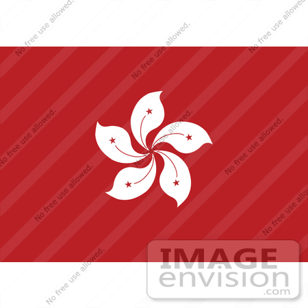 #34072 Clip Art Graphic of the White Bauhinia Blakeana Flower On The Red Flag Of Hong Kong, China by JVPD