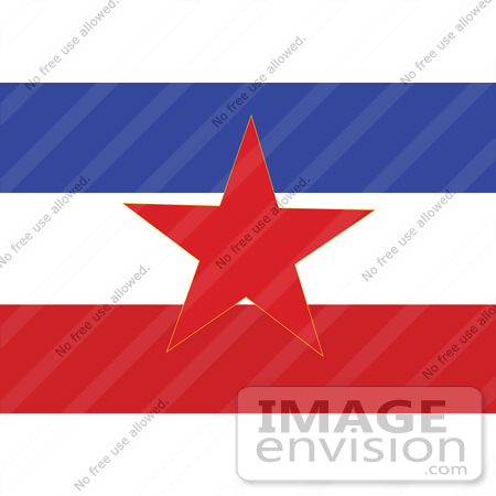 Of the red star on the blue, white and red sfr yugoslavia flag by jvpd