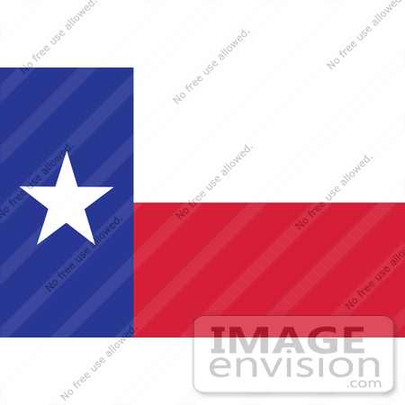 #34080 Clip Art Graphic of the Lone Star On The Blue, White And Red Texas State Flag by JVPD