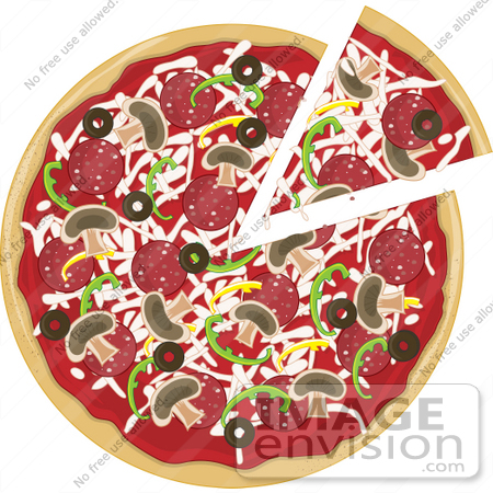 Clip Art Graphic of a Slice Of Pizza Being Removed From A Pie With ...