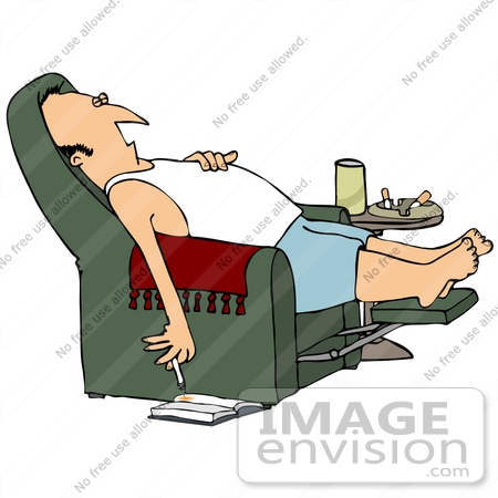 Clip Art Graphic Of A Sleeping Man With A Lit Cigarette