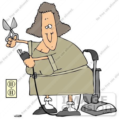 #34104 Clip Art Graphic of a Lady Snipping Off Part Of A Vacuum Cord To Plug It Into A Socket by DJArt
