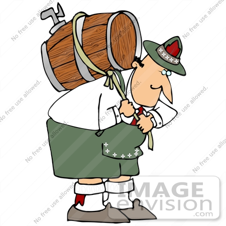 #34114 Clip Art Graphic of a Hunched Over Oktoberfest Man Pulling On A Rope Around A Beer Keg On His Back by DJArt