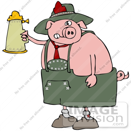 #34115 Clip Art Graphic of a Drunk Oktoberfest Pig Holding Up A Stein Of Beer by DJArt