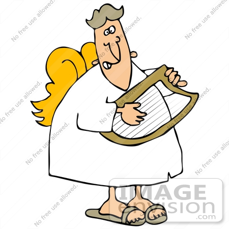#34117 Clip Art Graphic of a Musical Angel Strumming A Lyre Instrument In Heaven by DJArt