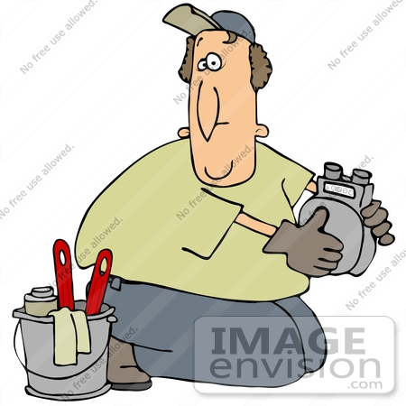 #34118 Clip Art Graphic of a Confused Man Kneeling On The Ground And Working On A Gas Meter by DJArt