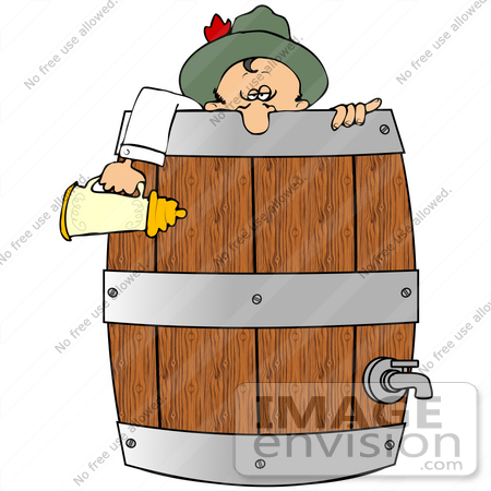 #34119 Clip Art Graphic of a Drunk Oktoberfest Man Collapsed Over The Edge Of A Keg, Holding A Beer Stein by DJArt