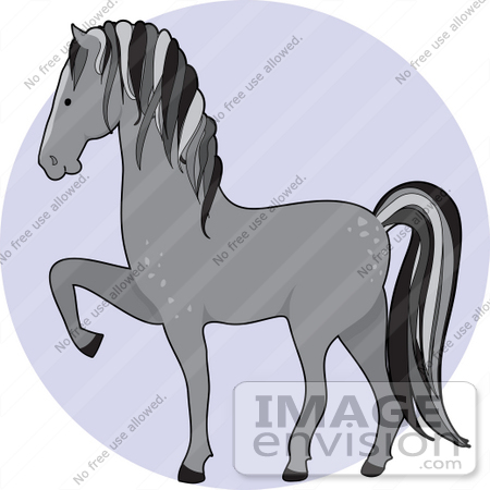 #34127 Clip Art Graphic of a Gray Dapple Horse Prancing by Maria Bell