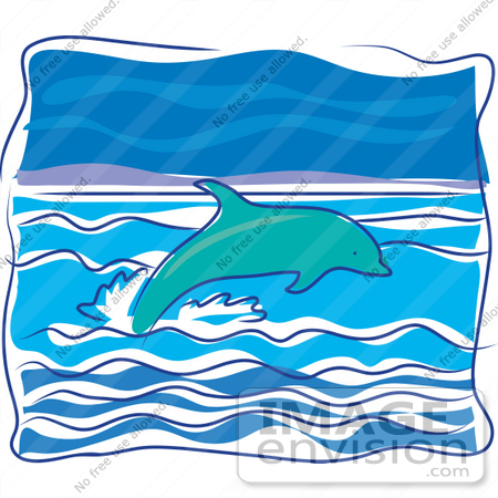 #34134 Clip Art Graphic of a Dolphin Swimming In The Tropics And Jumping Out Of The Wavy Water by Maria Bell