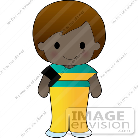 #34159 Clip Art Graphic of a Bahamian Girl Dressed in Cultural Bahamas Flag Clothes by Maria Bell