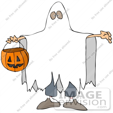 #34170 Clip Art Graphic of a Boy In A Ghost Costume Under A Sheet, Carrying A Pumpkin Basket by DJArt